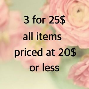 Bundle offer 3 items for 25$